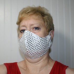 HANDMADE Silver Sequin Fabric Face Mask Shield